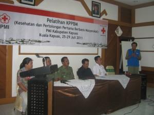 sambutan Ketua Markas PMI Kapuas  pada acara pembukaan pelatihan KPPBM