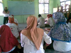 Relawan Desa saat mendengarkan materi dari Ibu Relawati Amd. keb